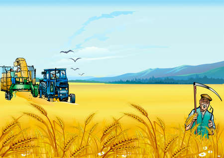 Harvesting of wheat,  tractor with a reaping-machine, field and man with a scythe Vector
