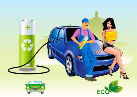 Ecological priming electricity, car and sittings on a hood woman driver and refueller Vector