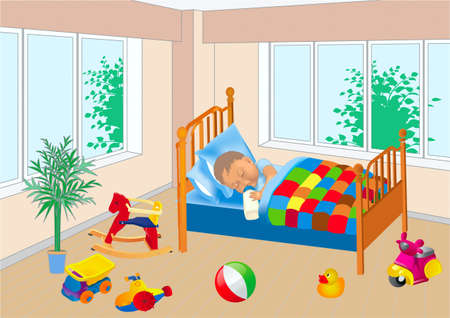 Asleep on a bed little child, on the floor toys are sparse