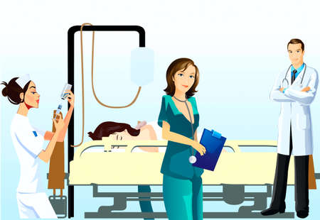 Trained nurse and doctor on examination for a patient Stock Vector - 20133116