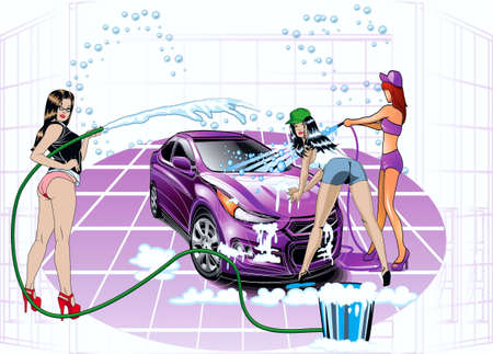 Girls wash a car Vector