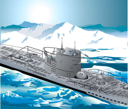 warship: A war-ship is in an arctic sea Illustration
