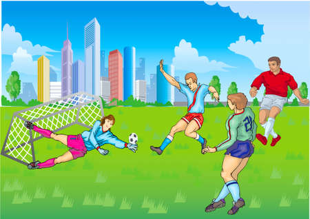 Playing football on a lawn, in a gate girl-goalkeeper