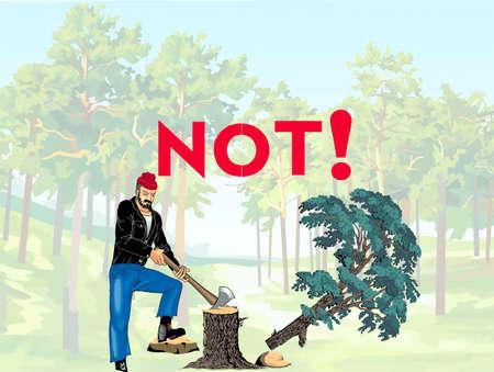 felling: Illyustratsiya- objecting against felling of the forest