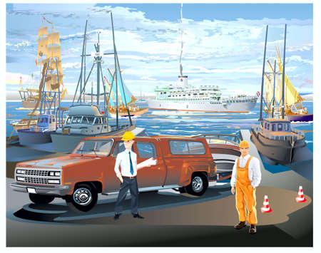 Marine port, on the raid of yacht and ship, �� moorage car and people Illustration