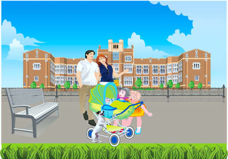 Father with a mother and children on promenade,2 girls peep in a carriage with a baby, alongside dog Stock Vector - 20322491
