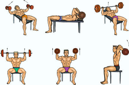 Exercises in a gymnasium for a man-athlete Illustration