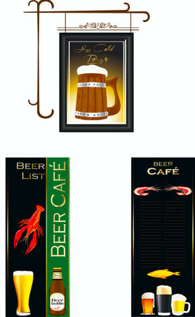Signboard and menu for beer Illustration