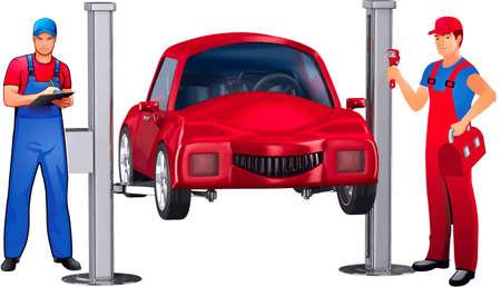 Car, hanging on a lift, near it autolocksmiths