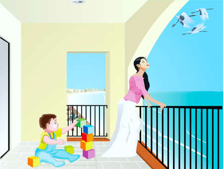 Woman with a child on a balcony on  a sea-shore, a child plays with blocks, a woman looks at flying storks Vector