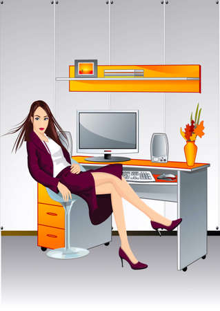 Girl, being at a table in an office Illustration