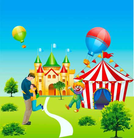mid air: En la ilustraci�n se convirti� en empapado, circo, en bolas el aire, un payaso invita en un circo, una ni�a convence a un ni�o para salir en un circo