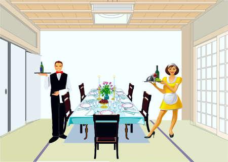 solemn: Los camareros cubren una mesa para la cena solemne