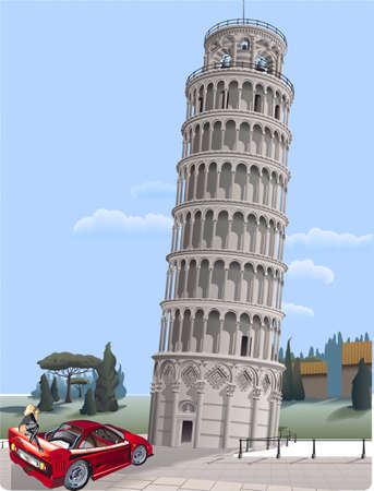 A woman on a car examines the Pizanskuyu tower