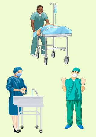 Preparation of doctors to the operation Stock Vector - 20476657