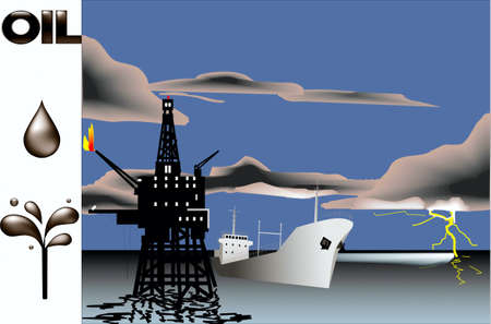 Oil-derrick in a sea, tanker, on ���� of an evening storm sky Stock Vector - 20671116