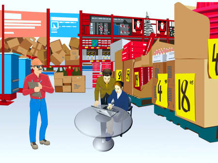 warehouse equipment: Revision of commodity on storage of shop