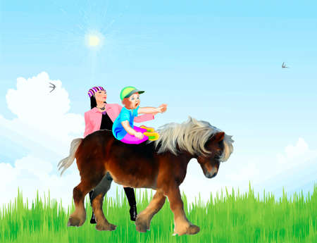 A mother takes for a ride a little child on a pony Stock Vector - 20671128