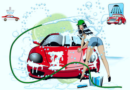A girl washes a car Vector
