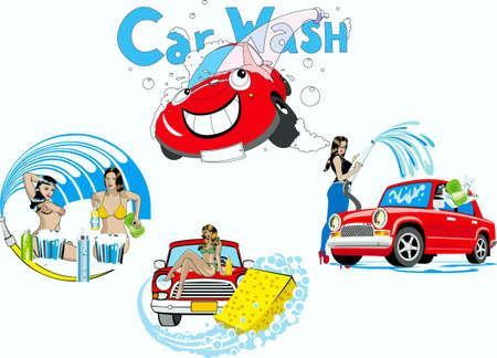 Girls of washer of cars and car  Vector