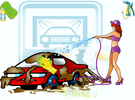 Girl, washing a dirty ludicrous machine Vector