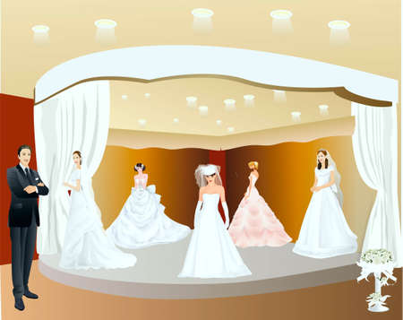 choosing:  Man choosing a wedding-dress Illustration