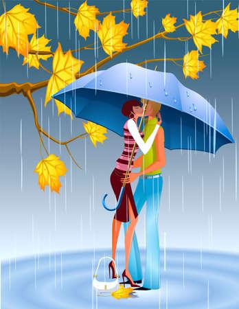 Pair, kissed under an umbrella