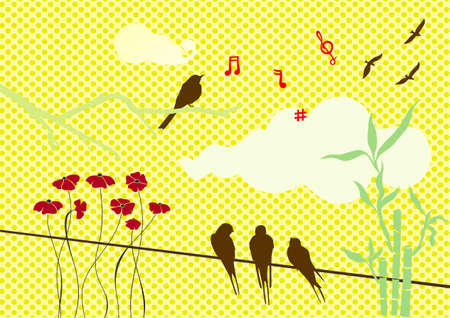 on a yellow background branch, bamboo, notes and birds