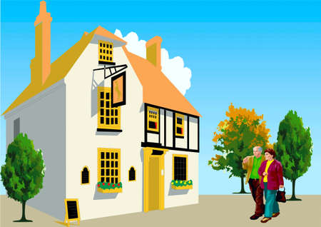 An elderly pair goes to the house Illustration