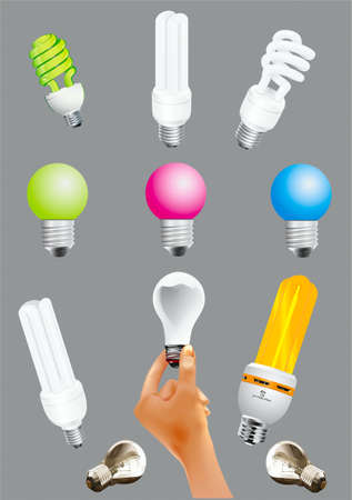 Electric light bulbs of different configurations and colors Stock Vector - 20887612
