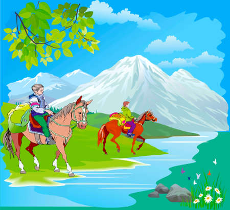 Equestrian tourists on the riverside Illustration