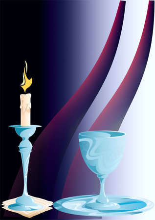 On a decorative background a candle in a candlestick and glass is on a dish Stock Vector - 21020244