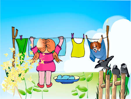Humorous illustration, a girl hangs linen and puppy on a rope