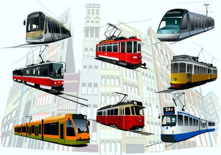 tramway: Su uno sfondo di una citt� vi � una selezione di tram della citt�