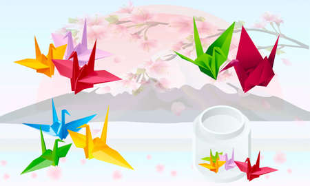 Origami as cranes on a background Japanese landscape