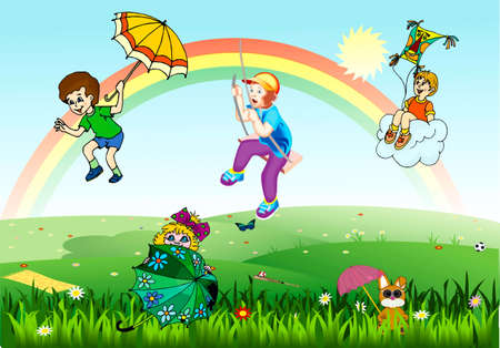 Children jump from a rainbow on umbrellas, boy on a swing, boy with an air serpent on a cloud