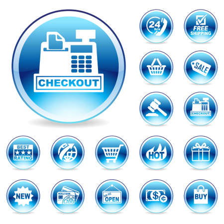 checkout button: Glossy Web icon Stock Photo