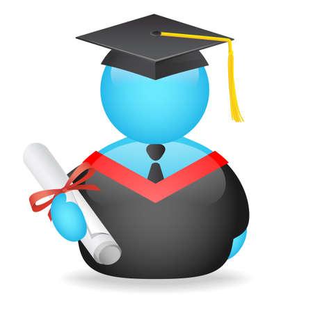 gorros de graduacion: Graduado de avatar  Foto de archivo