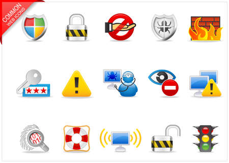 lock block: Internet Security icons Stock Photo