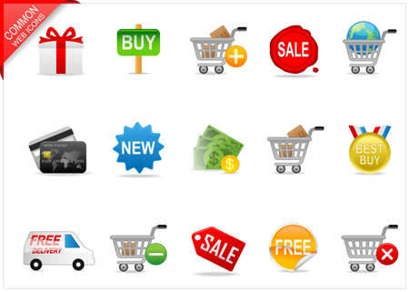 cart cash: Online shopping icons