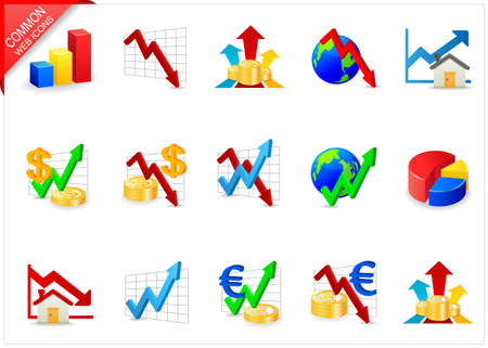 Chart icons Stock Photo