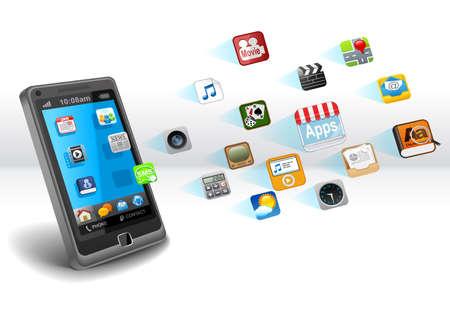 Smartphone mit apps Lizenzfreie Bilder