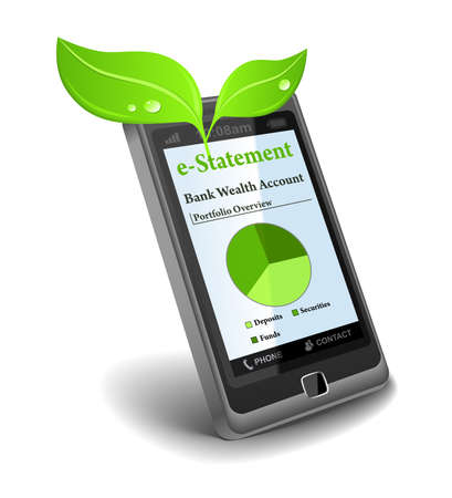 e-Statement on cell phone - save paper Stock Photo