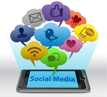 スマート フォン上のソーシャル メディア 写真素材
