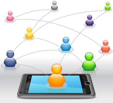 スマート フォン上で社会的なメディア ネットワーク