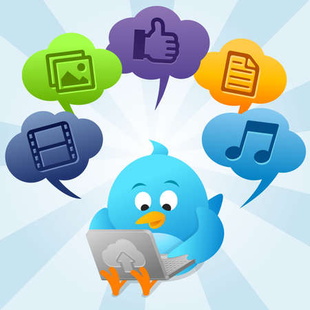 Twitter Bird is using Cloud Computing Stock Photo