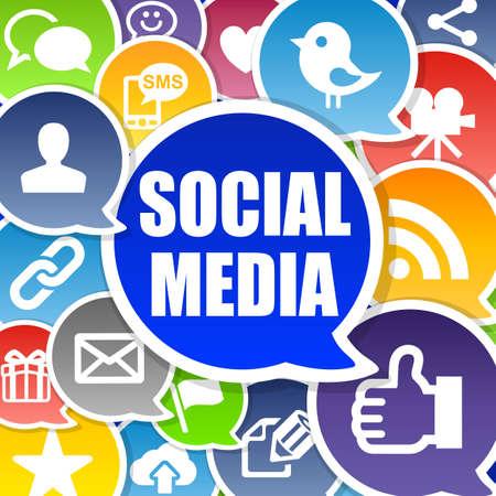 interaccion social: Medios de Comunicación Social de fondo con las burbujas del habla