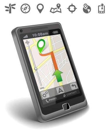 global positioning system: Smartphone maps navigation