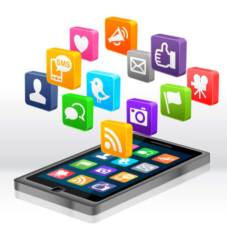 interaccion social: Medios de Comunicaci�n Social Apps Foto de archivo