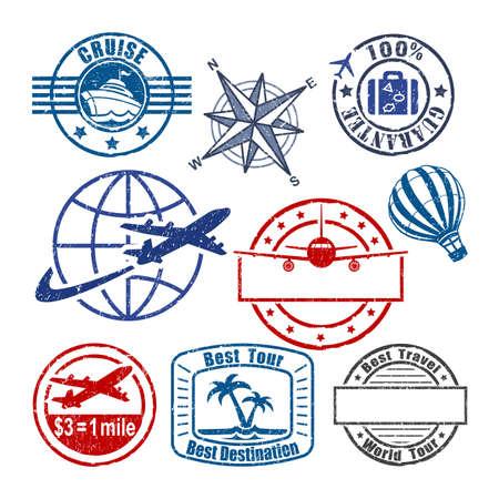 logo voyage: Voyage timbre Banque d'images